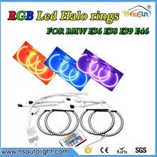 Авто Светодиодные фары Автомобильные аксессуары изменение цвета RGB 5050 smd led angel глаза halo кольца комплект для BMW E36 E38 E39 светодиодные габаритные огни
