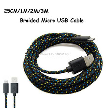 25CM/1M/2M/3M Long Strong Fabric Braided V8 Micro USB Sync Data Charger Cord Charging Cable For Samsung LG HTC Motorola Tablet