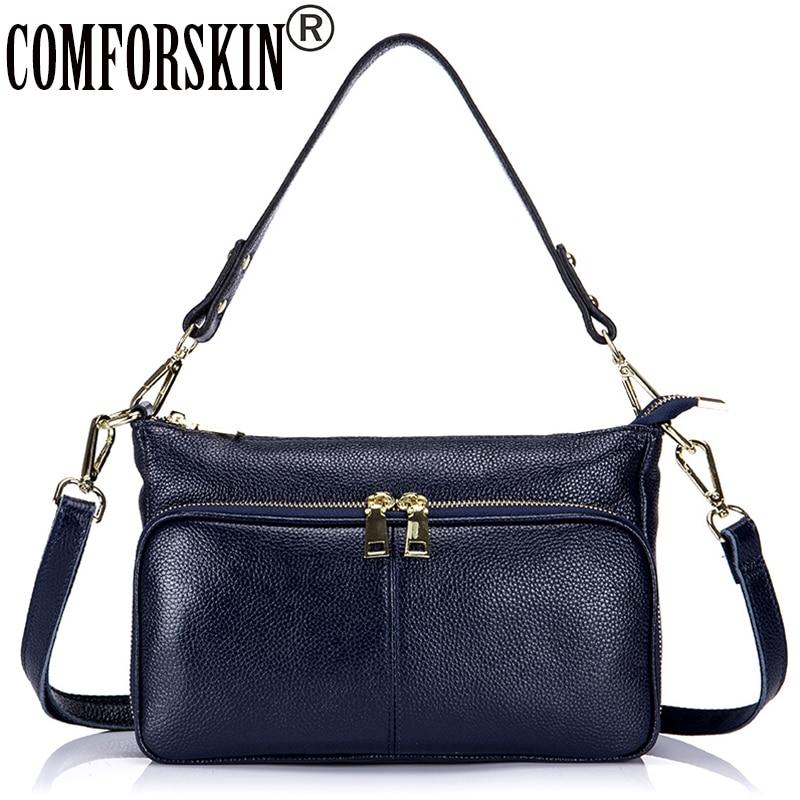 COMFROSKIN Premium Real Leather Women Messenger Bags Cross-body 2017 Brand Designer Female Minimalist Shoulder Bag Bolsos Mujer
