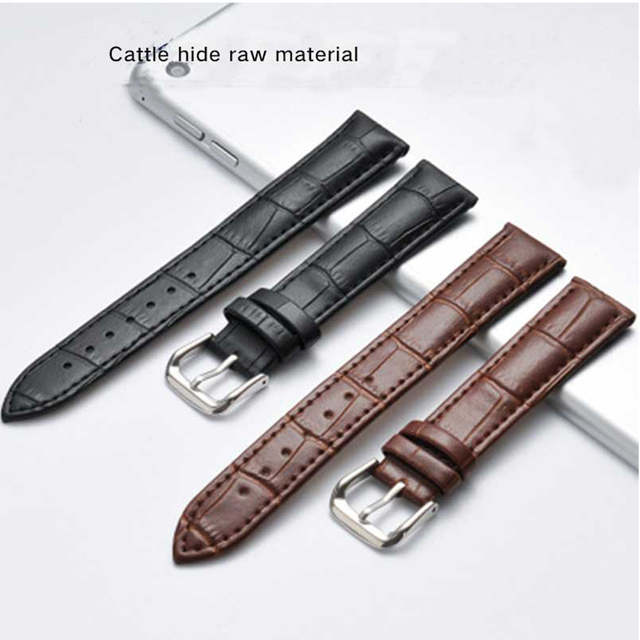 Watch with genuine leather slub leather strap watch, female color strap, pin buc