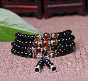 Браслет из черного обсидиана с кристаллами Тигрового Глаза 108, ожерелье, буддистский Будда, медитация, Mala