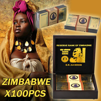 Zimbabwe 100pcs Gold Plated Banknote With Wooden Box Quality Fake Money For Collection Gift For Business Good Home Decoration