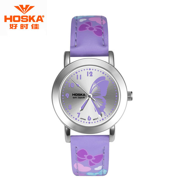 Cute Watch for Children LOGO HOSKA Outdoor Hiking Alarm Hour Luminous Back Light Leather Strap Quartz-Watch erkek kol saati H803