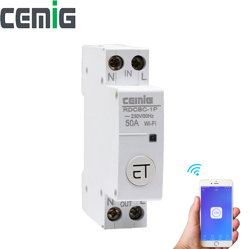 WiFi Circuit Breaker Remote Control by eWeLink Voice Control With Amazon Alexa and Google Home 18mm Din Rail Cemig RDCBC-1PWiFi Circuit Breaker Remote Control by eWeLink Voice Control With Amazon Alexa and Google Home 18mm Din Rail Cemig RDCBC-1P