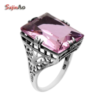 Pink Promotion New Punk Antique Ring High Quality 925 Sterling Silver Ring Women Topaz 925 Sterling
