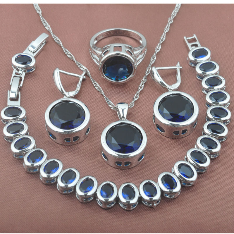 Classic Blue Stone Zirconia Women's 925 Sterling Silver Jewelry Sets Bracelet Necklace Pendant Earrings Ring YZ0371 viennois new blue crystal fashion rhinestone pendant earrings ring bracelet and long necklace sets for women jewelry sets