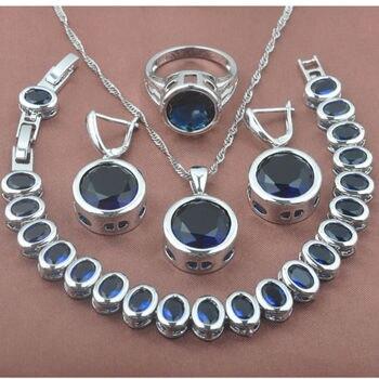 5e24d1638f54 Piedra Azul clásico zirconia 925 mujeres de plata esterlina Juegos de joyería  pulsera COLLAR COLGANTE Pendientes anillo yz0371