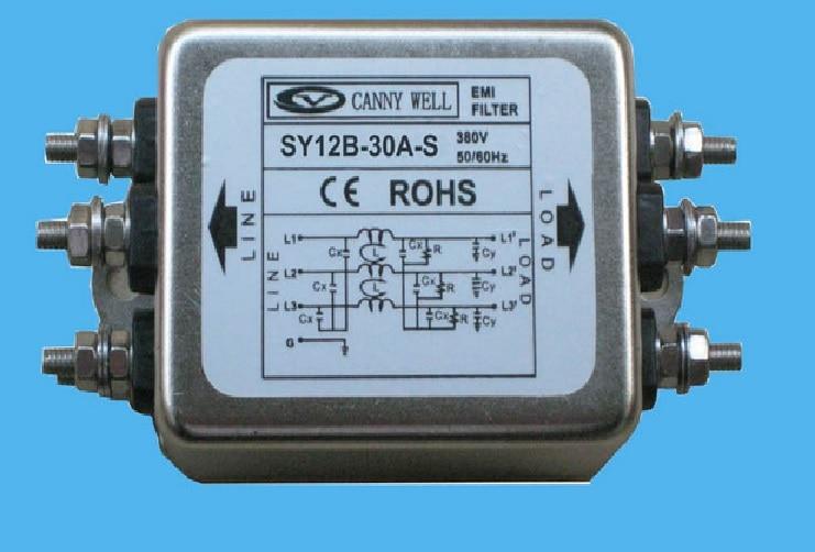 CW12B 40A S высокого тока 40A трехфазный 380 V фильтр питания EMI электрооборудование принадлежности адаптеры