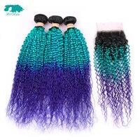 Allrun странный вьющиеся волосы пучки бразильский человеческих волос Weave 3 Связки с 4*4 Кружева закрытия Ombre T1B/ синий/фиолетовый Волосы remy