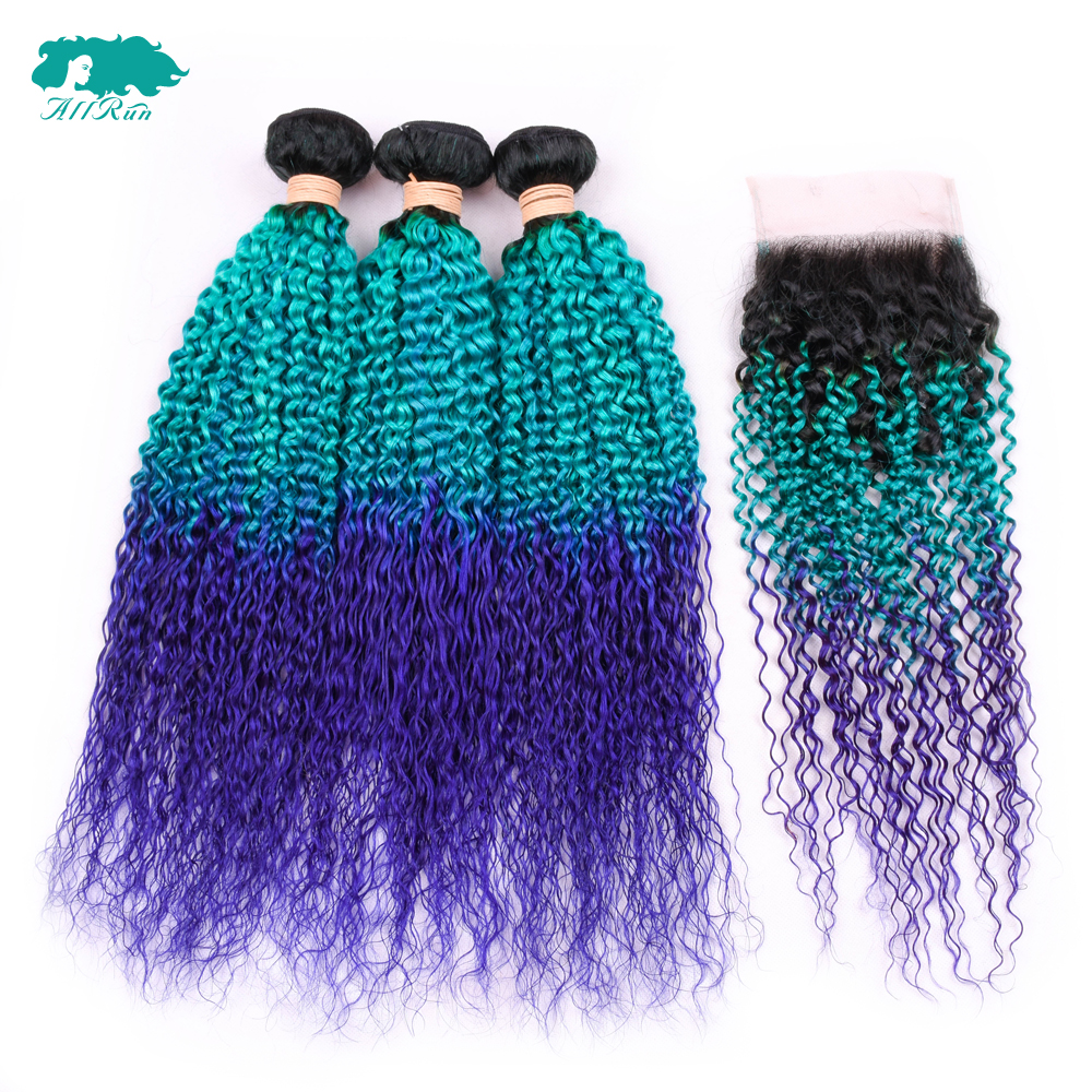 Brazilian Kinky Culry Bundles With Closure Free Part Ombre T1B/Blue/Purple Remy Human Hair Bundles With Closure With Baby Hair
