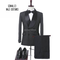 New Arrival 2017 Costume Homme Slim Fit Shawl Lapel Double Breasted Suit Groom Wear Men Wedding