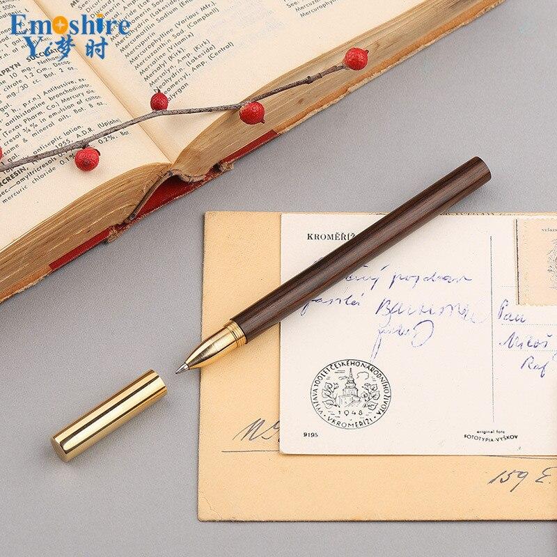 Hot Sale Brass Sandalwood Ball Pen Wood Stationery Wooden Ballpoint Pen Business Gift Custom Lettering Logo for Gift P364