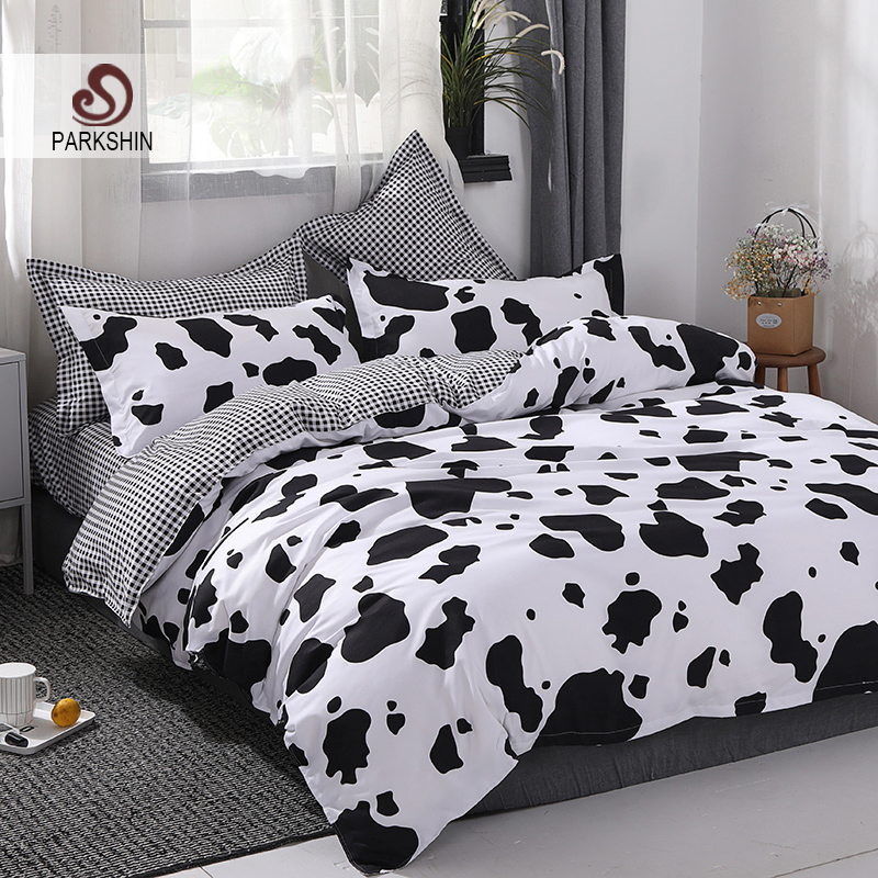 ParkShin 2019 Cartoon Cow Sot Bedding Sets Bed Linen Duvet Cover Flat Sheet Bedding Set Single Double Full King Queen Bed Set