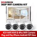 4CH 960 P NVR Kit Plug And Play Sem Fio Da Câmera do Sistema de Vigilância Ao Ar Livre Cam IP Com 10.1 Cor HD LED WI-FI NVR P2P Visão APLICATIVO