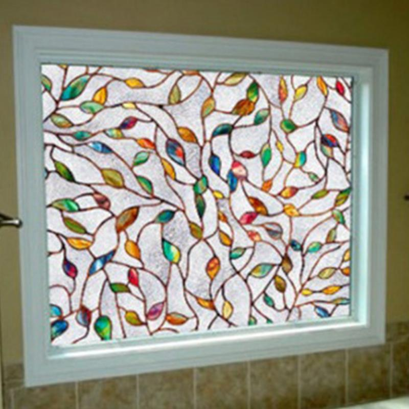 Decorative Window Film Privacy Window Film Clear Leaves Window - Window stickers for home privacy