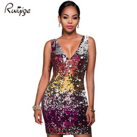 Women Party Dresses Summer 2017 Tank Sequin Bodycon Dress Sexy V Neck Sleeveless Sheath Club Midi