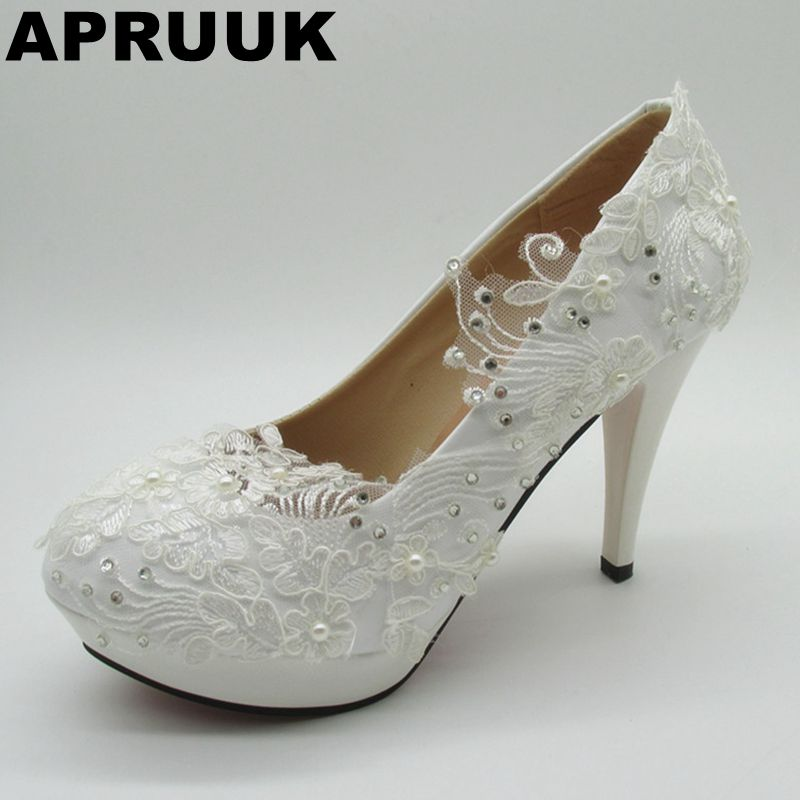 Super high heels white wedding shoes women platforms bridal brides pump shoes with silver crystal rhinestones female party shoes