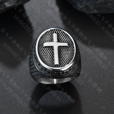 2019 New Vintage Punk Rock Christian Religion Cross Ring 316 L Stainless Steel For Men Father Jewelry Gift image