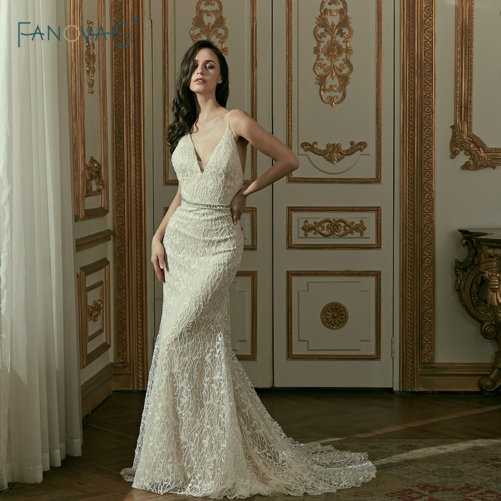 Gorgeous Mermaid Wedding Dresses 2019 V Neck Lace Wedding
