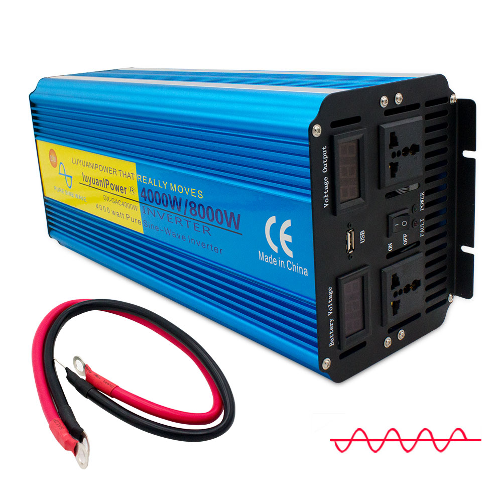 8000W Pure Sine Wave Power Inverter DC 12V/24V TO AC 220V/230V/240V With Dual LED Display 3.1A USB