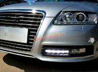 Для Audi A6 C6 2009 2010 2011 Chrome Черная передняя Туман Дневной свет время Бег лампы ДРЛ LED Белый F