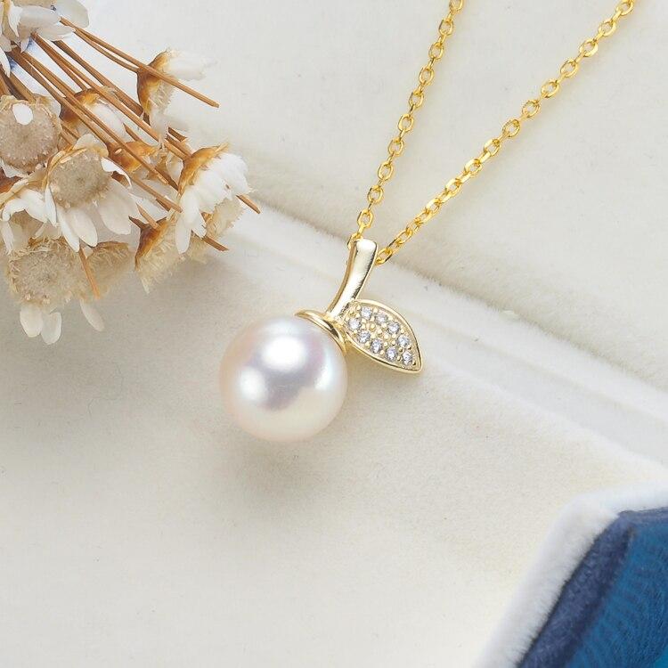 8-8.5mm blanc naturel perle pendentif 925 argent chaîne collier la pomme de notre oeil bijoux fins noël femme cadeaux