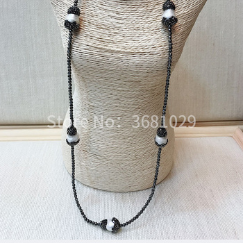 Personality vintage fashion sweater chain natural black gall pearl necklace with long style accessories
