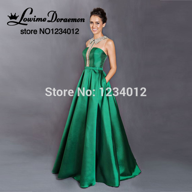 15e95e08fa Verde esmeralda Vestidos de Noche Con Bolsillo 2017 Vestidos de fiesta  Largos Vestidos de Noche Formales