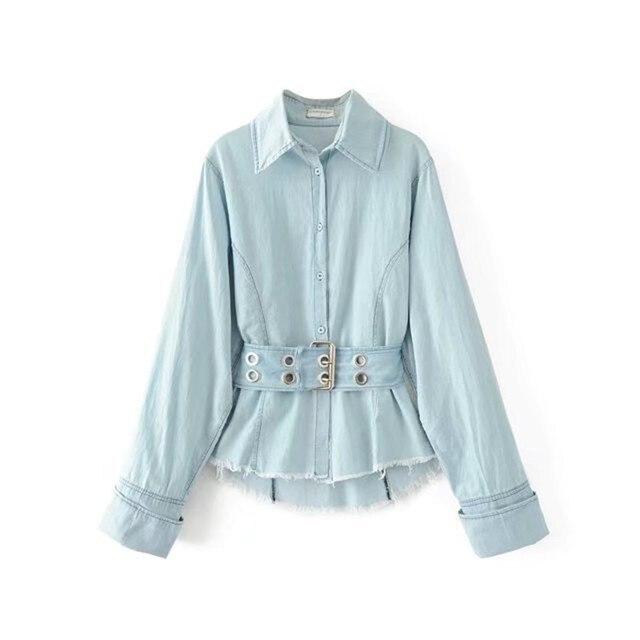 2017 Женская одежда Длинные рукава ремень Потертая джинсовая ткань хлопковая рубашка Топы корректирующие женские модные повседневные свободные джинсы Блузка светло-голубой цвет C1605