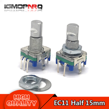 10pcs Half axis rotary encoder, handle length 15mm code switch / EC11 / digital potentiometer with switch 5Pin