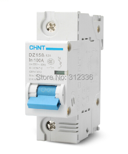 Free Shipping DZ158 1P 100A big power air switch unipolar circuit breaker Electric shock protection domestic C type 400 amp 3 pole cm1 type moulded case type circuit breaker mccb