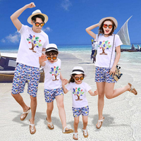 Print Shorts and Happy Tree T shirt Set for Family Clothes Summer Holiday Beach Set for Mom Daughter Dad Son White Boys 2PCS Set