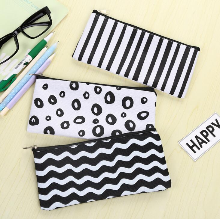 1 PC Brief Black White Stripes Canvas Pencil Case Stationery Storage Organizer Bag School Office Supply Escolar
