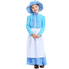 Kids Girls Colonial Costume Pioneer Pilgrim With Bonnet Full Sets Fancy Blue Dress Halloween Carnival Party Stage Performance