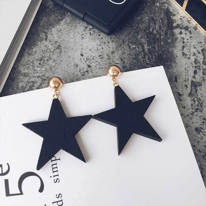 1 Pair Women Dangle Earrings Wood Star Vintage Lady Girl Simple Earring Jewelry Gift dropshipping