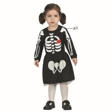 Halloween 70-80cm Toddles Small Size Little Kids' Skeleton Body Print Scary Costume Full Sleeve Turtleneck Strech Cosplay Dress