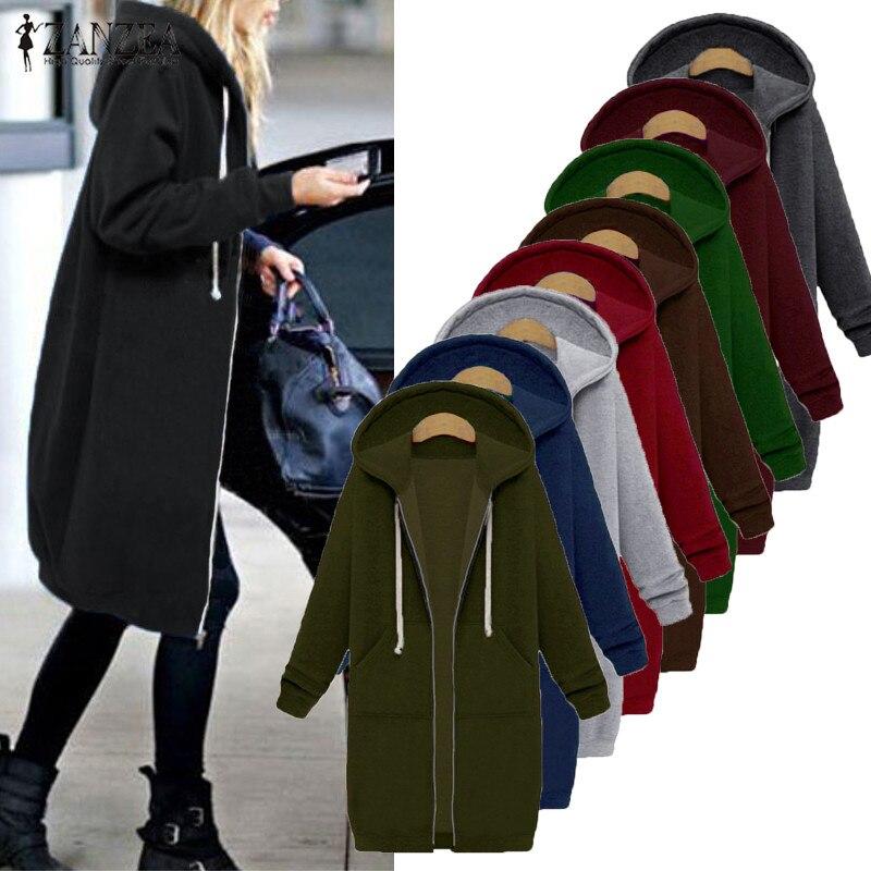 Plus Size Coats Jackets Womens Hooded Sweatshirt ZANZEA 2019 Winter Fleece Warm Long Zipper Outerwear Parka Long Sleeve Hoodies