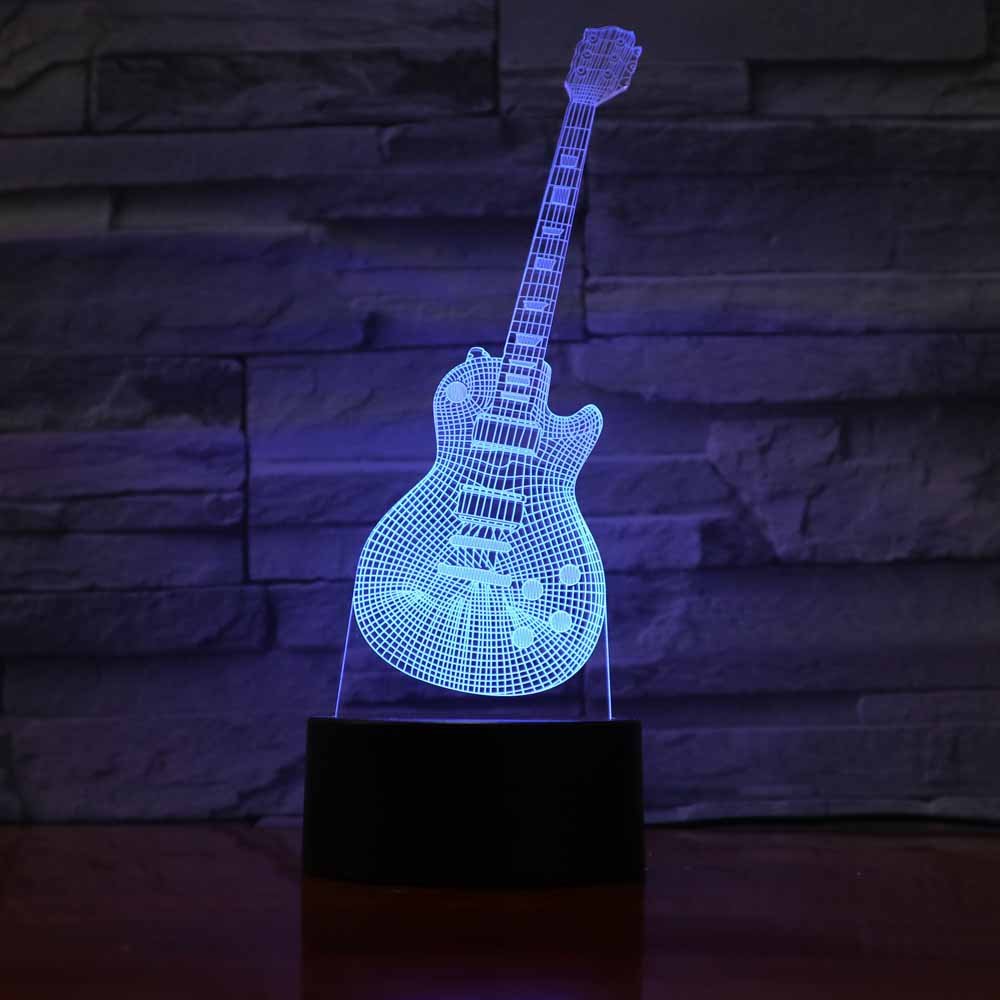guitar led night lamp 3d illusion night light touch control 7 colors change usb charger creative. Black Bedroom Furniture Sets. Home Design Ideas