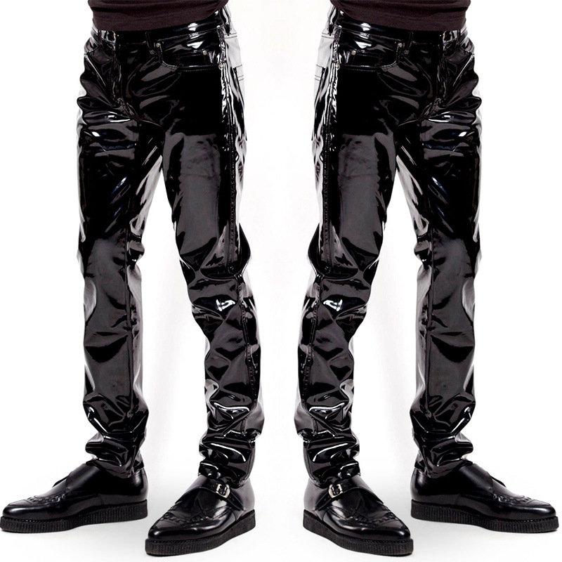 Men's Nightclub Party Slim Shiny Patent PVC Leather Tight Pants Black Straight Trousers B3 image