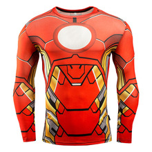 2016 Iron Man Compression Sports Shirts Quick-Dry High Elastic Breathable Men Long Sleeve 3D Printed Plus Size Exercise T-shirts