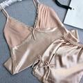 Novas Chegadas Mulheres Conjuntos de Pijama de Cetim Sólida com Calças Curtas Senhoras YX031 Nightdress Início Roupas Tamanho M-XXL
