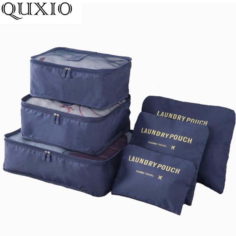 2018 Beliebte Reisetaschen 6 Teile/satz Doppel-reißverschluss Wasserdichte Notwendig Gepäck Tasche Verpackung Würfel Multifunktions Folding Tasche Hw128z