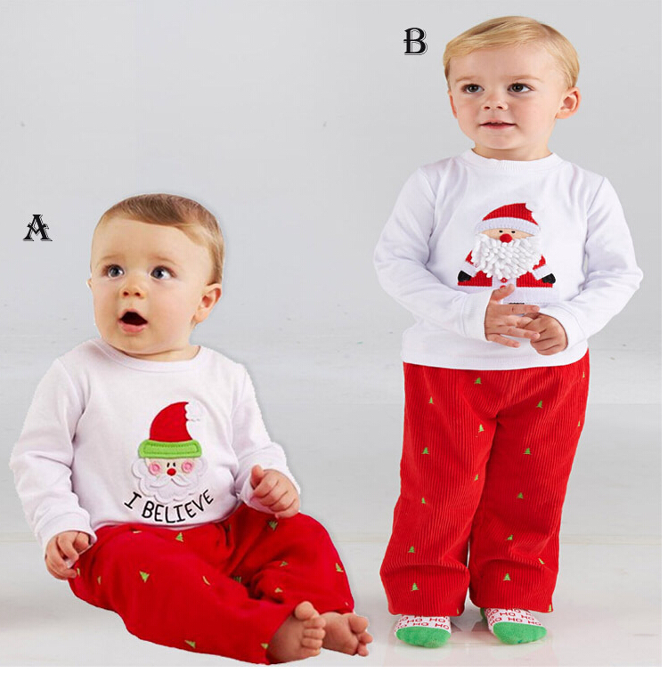 2f0afb93c8b7 New christmas Children Pants+suits long sleeve clothes Santa Claus ...