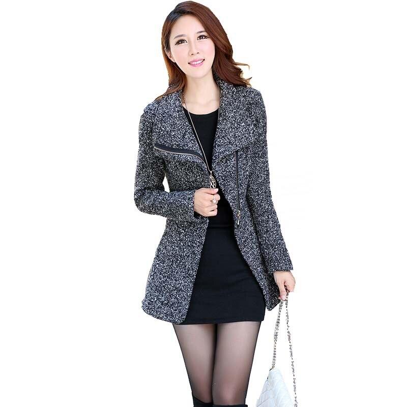 Winter New Women Korean Slim Thin Zipper Long Woolen Coat Elegant ...