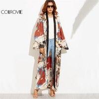 COLROVIE Calico Print Maxi Kimono Long Sleeve Vintage Blouse Women 2017 Autumn Loose Tops Contrast Trim