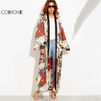 COLROVIE Calico Print Maxi Kimono Long Sleeve Vintage Blouse Women 2017 Autumn Loose Tops Contrast Trim