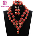 African Red Beads Balls Jewelry Sets Wedding Jewelry Accessories 2017 Brides Necklace Set New Free Shipping WD398