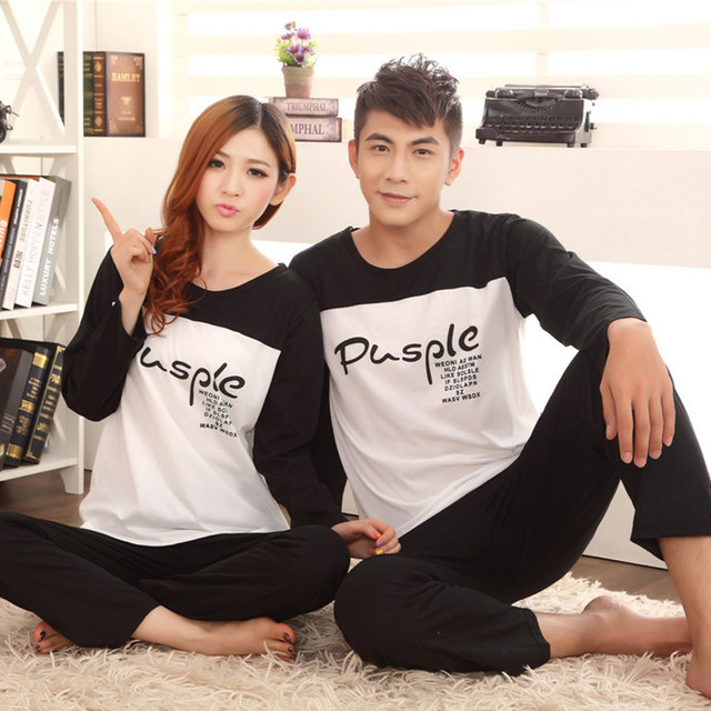 Couple Pajama Sets 2016 Spring and Autumn Korean for Couples Panda Top Quality Cute Mens Pajamas 16 Styles Free Shipping