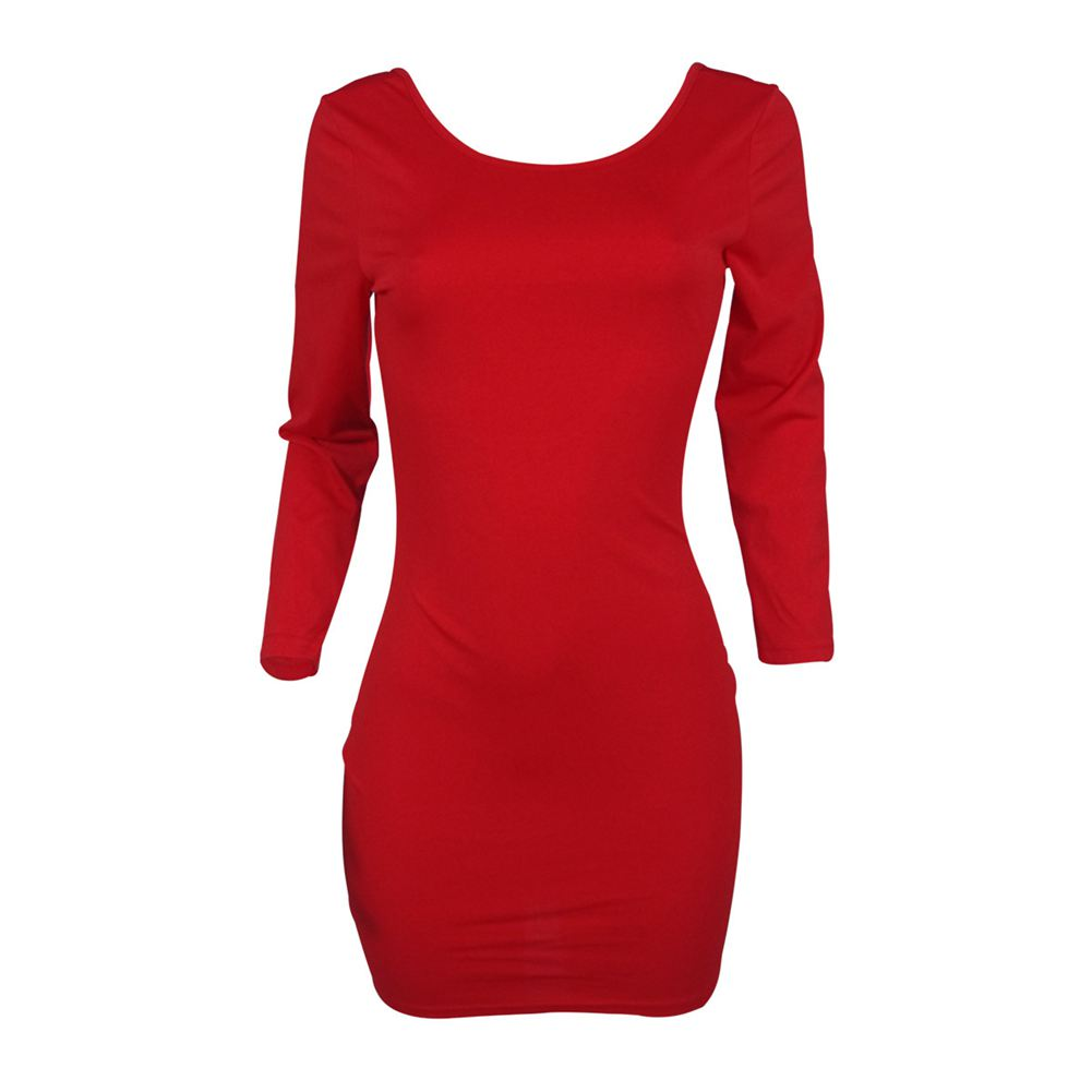Women's New Stylish Three Quarter Sleeve Dress Casual Backless Bodycon Round Neck Evening Party Long Sleeve Solid Mini Dresses