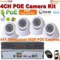 4CH NVR Комплект 960 P POE Камеры Системы HD крытый 1,3-МЕГАПИКСЕЛЬНАЯ ИК Ночного Безопасности Ip-камера запись видео Монитор CCTV Наблюдения система